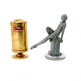 Brass Bank And An Art Nouveau Pewter Radiator Cap