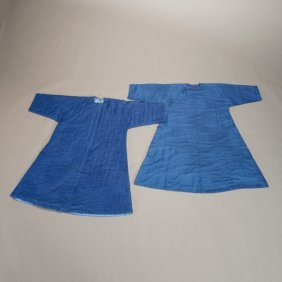 Two Chinese Blue Silk Brocade Men's Robes
