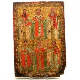 Eastern European Icon Of Six Saints
