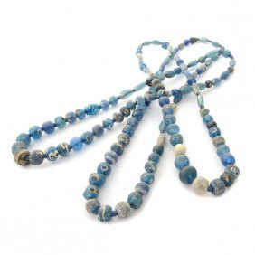 Collection Of Three Mali Glass Bead Necklaces.
