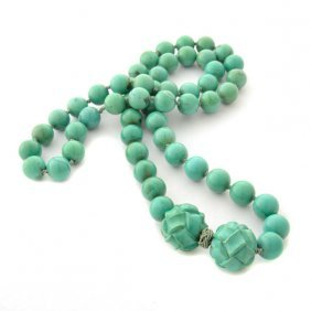 Antique Chinese Turquoise Bead Necklace.