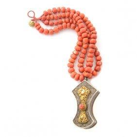 *tibetan Coral Bead, Gilded Silver Needle Case