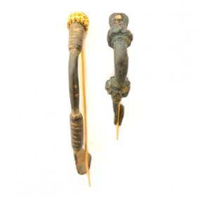 Collection Of Two Ancient Bronze And Yellow Gold Fibula