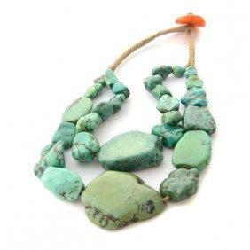 Antique Tibetan Turquoise Bead, Amber Bead Necklace.