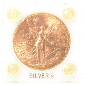 Mexico 1947 50 Pesos Gold Coin, Unc Condition