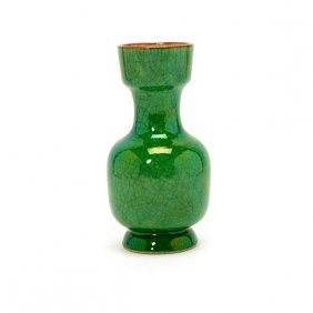 A Green Crackle Glazed Vase, 19th Century