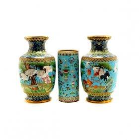 Three CloisonnÈ Enamel Vases