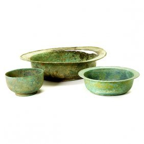 Two Korean Bronze Bowls And A Bronze Basin