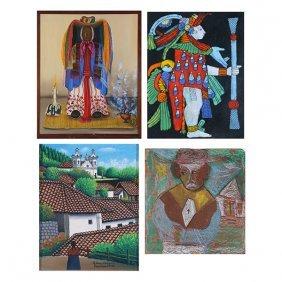 4 Haitian Paintings, Including Work By Juan Sisay.