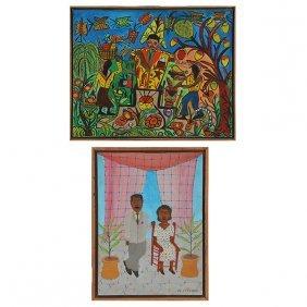 2 Haitian Paintings, Stephane And Martinez