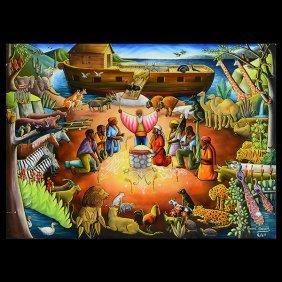 """Andre Normil """"noah's Ark"""" Haitian Art"""