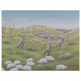 """Duro Jancic """"sheep And Shephered"""" Oil On Canvas."""