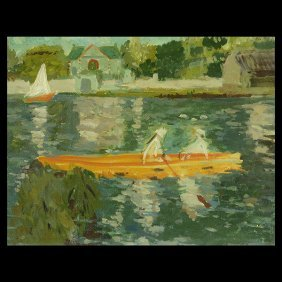 """French School """"sailing On A Lake"""" Oil On Canvas."""