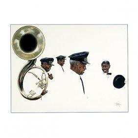 "Tom Mckinney ""musicians"" Watercolor, American Art"