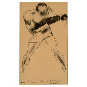 "Andre De Segonzac ""the Boxer"" Ink And W/c, French Art"