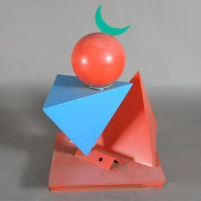 """Benbow Bullock """"triangles And Sphere"""" Metal Sculpture."""