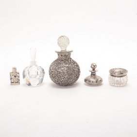 Five Sterling And Glass Perfume Bottles And A Jar