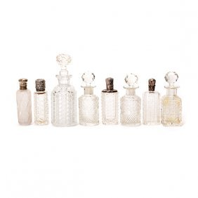 Eight Cut Glass Scent Or Perfume Bottles