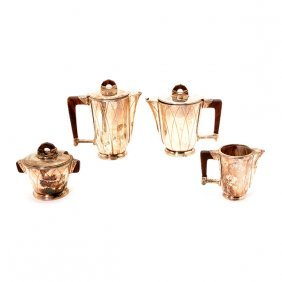 French Art Deco Silver Plated Coffee And Tea Service