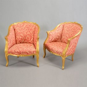 Pair Of Louis Xv Style Giltwood Bergeres