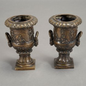 Pair Of Neoclassical Style Patinated Bronze Urns With
