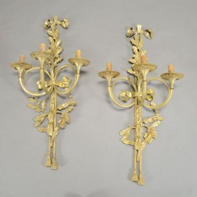 Pair Of Dore Bronze Trumpet Shaped Sconces