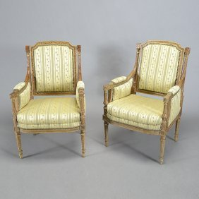 Pair Of Louis Xvi Style Yellow Silk Upholstered