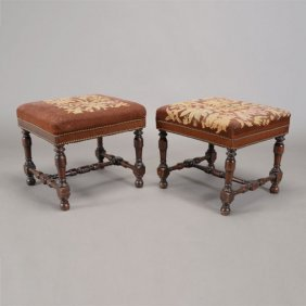 Pair Of Jacobean Style Benches With Needlepoint