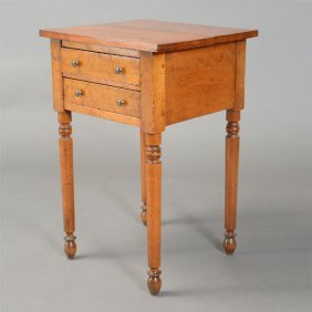 Federal Bird's Eye Maple Two Drawer Side Table