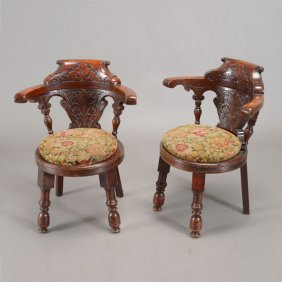 Pair Of English Rococo Style Carved Hall Chairs