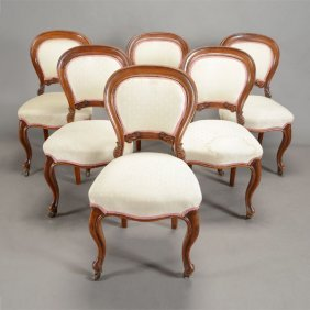 Suite Of Six Rococo Revival Cream Upholstered Dining