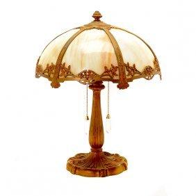 Arts & Crafts Caramel Slag Glass Gilt Metal Lamp