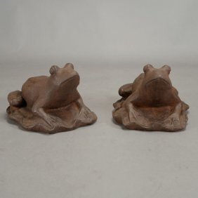 Pair Of Cast Iron Garden Frog Figures