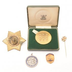 Collection Of Four Medals, Medallions, Or Pins