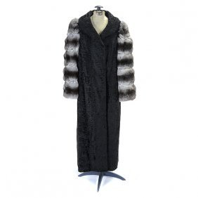 Women's I Magnin Curly Lambs Wool Full Length Coat With