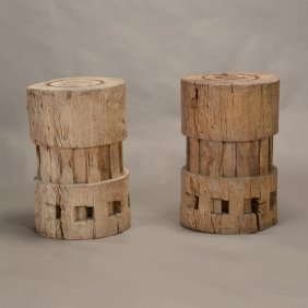Pair Of Phillipine Wood Sugar Cane Presses
