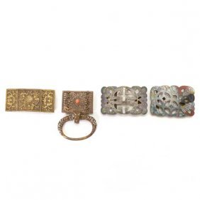 Four Metal Belt Ornaments, Late Qing Dynasty