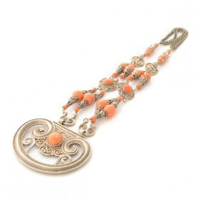 *mongolian Coral, Silver Necklace.