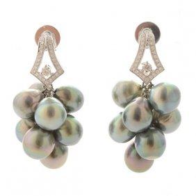 Pair Of Tahitian Cultured Pearl, Diamond, 18k White