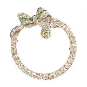 Art Deco Diamond, Emerald, Platinum Circle Brooch.