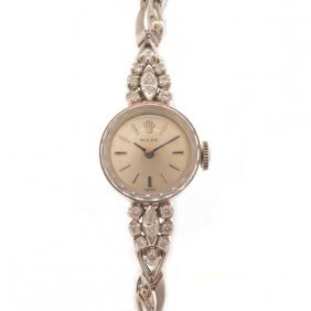 Ladies Rolex Diamond, 14k White Gold Wristwatch.