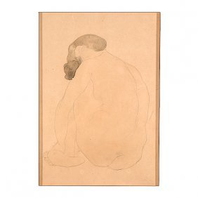"Auguste Rodin ""nude"" Watercolor."