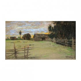 "Attr. To Levitan, Russian Pastel Drawing, ""farm"