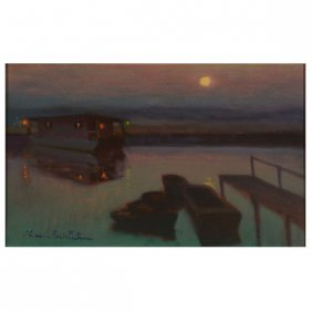 Charles Rollo Peters, Boats At Night Oil Cal Art