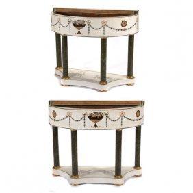 Pair Of Neoclassical Style Specimen Marble Veneered And