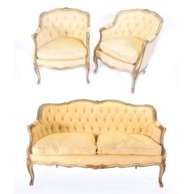 Louis Xv Style Three Piece Suite, Painted And Parcel