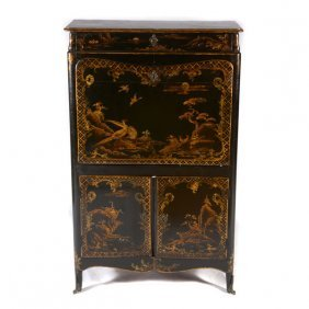 Louis Xv Lacquered And Polychrome Chinoiserie Decorated