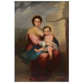 """Continental School """"mother And Child"""" O/c"""