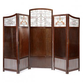 Arts & Crafts Five Panel Leaded Glass And Mahogany