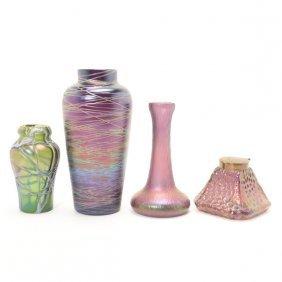 Three Jugenstil Threaded Or Martele Glass Vases And An